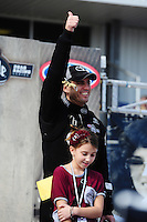 Sept. 25, 2011; Ennis, TX, USA: NHRA top fuel dragster driver Larry Dixon with daughter Alanna Dixon during the Fall Nationals at the Texas Motorplex. Mandatory Credit: Mark J. Rebilas-