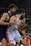 Turkish Airlines Euroleague 2017/2018.<br /> Regular Season - Round 8.<br /> FC Barcelona Lassa vs Valencia Basket: 89-71.<br /> Ante Tomic vs Bojan Dubljevic.