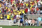 08 September 2007: Ronaldinho (in blue) waives to the fans as he takes the field. The Brazil Men's National Team practiced at Toyota Park in Bridgeview, Illinois.