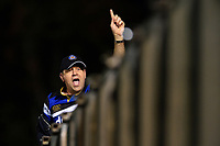 A Bath Rugby supporter in the crowd celebrates a try. Gallagher Premiership match, between Bath Rugby and Exeter Chiefs on October 5, 2018 at the Recreation Ground in Bath, England. Photo by: Patrick Khachfe / Onside Images