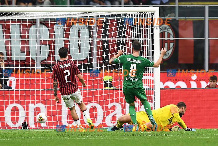 Gaetano Castrovilli of Fiorentina scores the goal of 0-2 for his side <br /> Milano 29/09/2019 Stadio Giuseppe Meazza <br /> Football Serie A 2019/2020 <br /> AC Milan - ACF Fiorentina   <br /> Photo Image Sport / Insidefoto