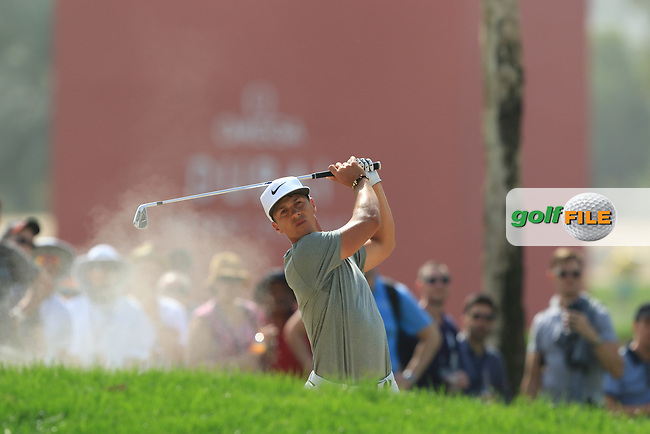 Thorbjorn Olesen (DEN) on the 1st fairway during Round 4 of the Omega Dubai Desert Classic, Emirates Golf Club, Dubai,  United Arab Emirates. 27/01/2019<br /> Picture: Golffile | Thos Caffrey<br /> <br /> <br /> All photo usage must carry mandatory copyright credit (© Golffile | Thos Caffrey)