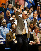 UNC Coach Roy Williams reacts to a play during the first half of the Tar Heels match-up against long-tim rival Duke at Cameron Indoor Stadium, Sat., March 6, 2010. Duke destroyed UNC 82-50.