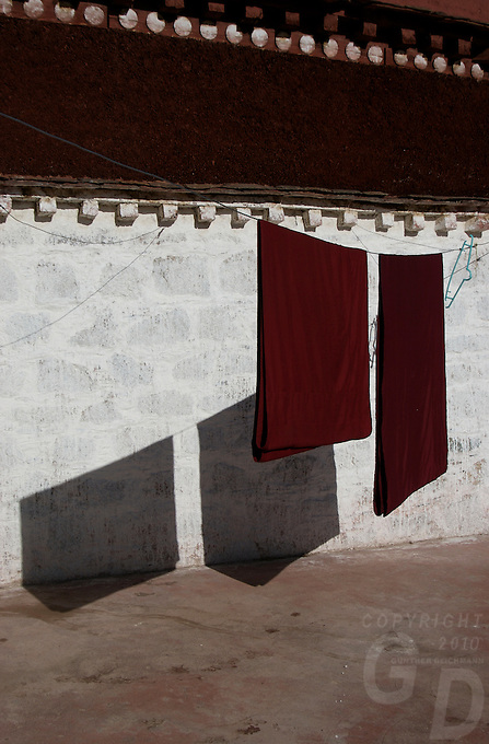 A monk's washing hanging for drying Monasteries and Buddhist Monks in Tibet