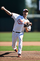 Baltimore Orioles pitcher Ryan Webb (58) during a Spring Training game against the Detroit Tigers on March 4, 2015 at Ed Smith Stadium in Sarasota, Florida.  Detroit defeated Baltimore 5-4.  (Mike Janes/Four Seam Images)