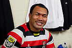 A battered and briused Taiasina Tuifua still manages a smile for the camera as he rests after the game. ITM Cup Round 1 game between the Counties Manukau Steelers and Otago, played at Bayer Growers Stadium, Pukekohe, on Saturday July 31st 2010. Counties Manukau Steelers won 29 - 13 after leading 22 - 6 at halftime.