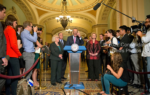 United States Senate Minority Leader Chuck Schumer (Democrat of New York) speaks to reporters following the Democratic Party luncheon in the United States Capitol in Washington, DC on Tuesday, June 27, 2017.  From left to right: US Senator Patty Murray (Democrat of Washington), US Senate Minority Whip Dick Durbin (Democrat of Illinois), Leader Schumer and US Senator Debbie Stabenow (Democrat of Michigan).<br /> Credit: Ron Sachs / CNP
