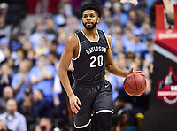 Washington, DC - MAR 11, 2018: Davidson Wildcats guard KiShawn Pritchett (20) brings the ball up court during the Atlantic 10 men's basketball championship between Davidson and Rhode Island at the Capital One Arena in Washington, DC. (Photo by Phil Peters/Media Images International)