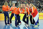Leipzig, Germany, February 08: Players of The Netherlands present the World Cup Trophy after defeating Germany 2-1 after shoot-out (0-1, 1-1) to win the FIH Indoor Hockey Women World Cup on February 8, 2015 at the Arena Leipzig in Leipzig, Germany. (Photo by Dirk Markgraf / www.265-images.com) *** Local caption ***