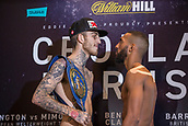 6th October 2017, Radisson Edwardian Hotel,  Manchester, England; Anthony Crolla versus Ricky Burns Weigh-in and Press Conference;  Sam Eggington and Mohamed Mimoune face-off after the weigh-in weighs-in for their title fight