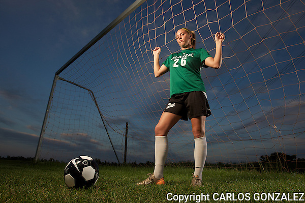 June 18, 2008 - Cottage Grove, MN - Park High School -  Briana Westlund photographed at Kingston Park in Cottage Grove, MN. Westlund is one of the top girls' soccer players in the nation and is easily one of the nation's top defensive players. Westlund is an NSCAA/adidas All-American and was the St. Paul Pioneer Press Player of the Year in girls' soccer last year. Westlund led her team to a 17-3 record last season and will be a prominent factor in the team's title run this year...Photo by Carlos Gonzalez