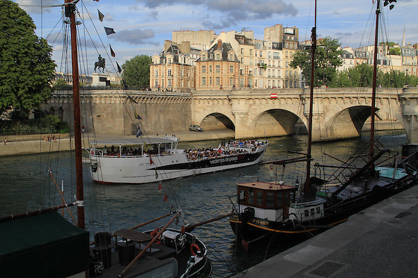 Tour boat or bateau on Seine River, Paris, France, Europe.