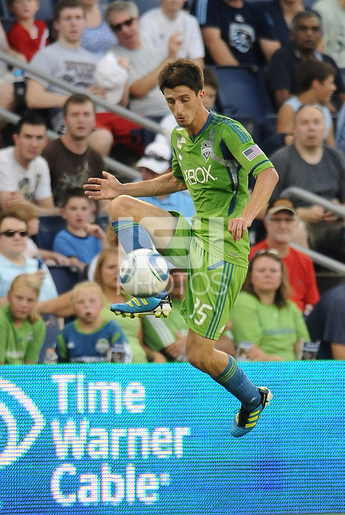 Alvaro  Fernandez (15) midfielder Seattle Sounders in action... Sporting Kansas City were defeated 1-2 by Seattle Sounders at LIVESTRONG Sporting Park, Kansas City, Kansas.
