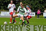 Niamh Carmody of Listowel Celtic breaks past Christine Healy of Kilmore Ladies FC in the Cup semi final played last Sunday in Pat Kennedy Park, Listowel.