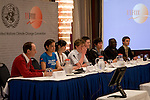 Stuart Scott and students from Gymnasium Marienschule hold a press conference where they presented the first money to the Adaptation Fund at the UNFCCC talks in Bonn.