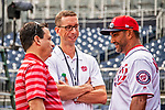 22 September 2018: Washington Nationals Radio Broadcasters Charlie Slowes (left) and Dave Jageler (center) chat with Manager Dave Martinez prior to a game against the New York Mets at Nationals Park in Washington, DC. The Nationals shut out the Mets 6-0 in the 3rd game of their 4-game series. Mandatory Credit: Ed Wolfstein Photo *** RAW (NEF) Image File Available ***