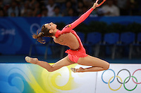 August 23, 2008; Beijing, China; Rhythmic gymnast Almudena Cid of Cid stag leaps with hoop on way to placing 8th in the All-Around final at 2008 Beijing Olympics. Almudena's 4th Olympics!