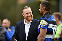 Ross Batty of Bath Rugby speaks with team-mate Taulupe Faletau after the match. Aviva Premiership match, between Bath Rugby and Worcester Warriors on October 7, 2017 at the Recreation Ground in Bath, England. Photo by: Patrick Khachfe / Onside Images