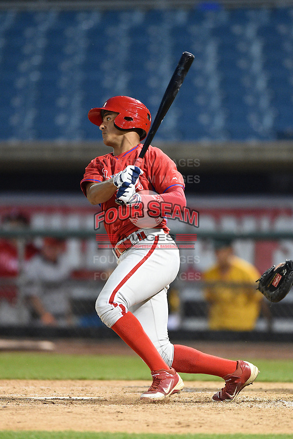 Garrett Whitley (24) of Niskayuna High School in Niskayuna, New York playing for the Philadelphia Phillies scout team during the East Coast Pro Showcase on July 31, 2014 at NBT Bank Stadium in Syracuse, New York.  (Mike Janes/Four Seam Images)