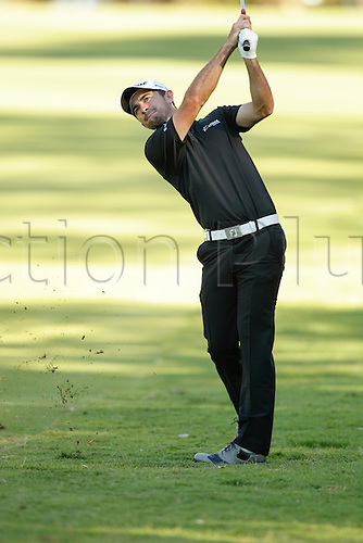 27.02.2016. Perth, Australia. ISPS HANDA Perth International Golf. Gary Stal (FRA) plays his second shot on the fairway of the second hole during day 3.