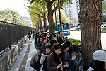 Well-wishers line up to watch the royal parade to mark the enthronement of Japanese Emperor Naruhito in Tokyo, Japan on Sunday, November 10, 2019. (Photo by AFLO)
