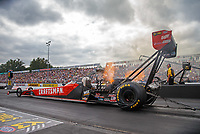 Sep 15, 2018; Mohnton, PA, USA; NHRA top fuel driver Richie Crampton during qualifying for the Dodge Nationals at Maple Grove Raceway. Mandatory Credit: Mark J. Rebilas-USA TODAY Sports