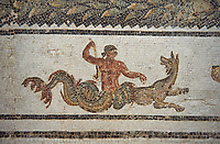 Detail picture of the border of a  Roman mosaics design depicting Dionysus Riding a Panther, from Abdel Jelil. 2nd century AD. El Djem Archaeological Museum, El Djem, Tunisia.