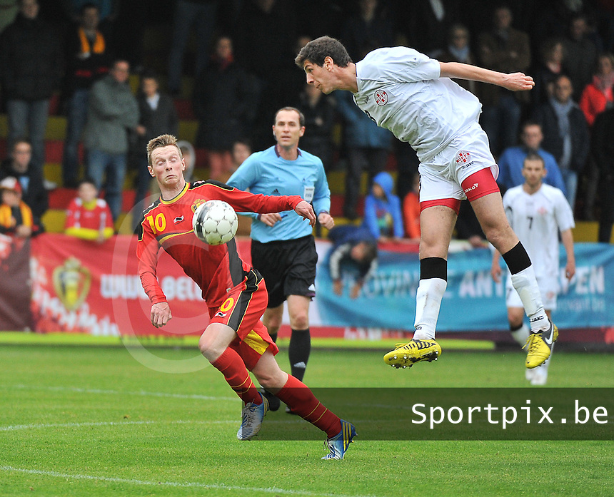 Georgia U19 - Belgium U19 : duel between Lasha Dvali (3) and Rob Schoofs (10)<br /> foto DAVID CATRY / Nikonpro.be