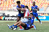2nd February 2019, Spotless Stadium, Sydney, Australia; HSBC Sydney Rugby Sevens; Samoa versus Japan; John Vaili and Joe Perez in the tackle