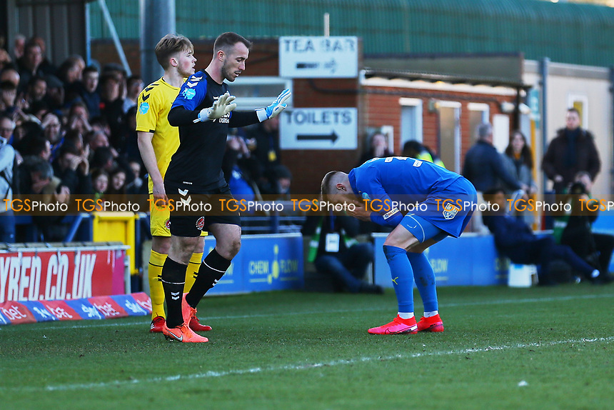 Frustration for Joe Pigott (R) of AFC Wimbledon after a missed chance on goal during AFC Wimbledon vs Fleetwood Town, Sky Bet EFL League 1 Football at the Cherry Red Records Stadium on 8th February 2020