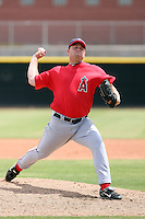 Kevin Nabors #52 of the Los Angeles Angels plays in an extended spring training game against the Milwaukee Brewers at the Angels minor league complex on April 23, 2011  in Tempe, Arizona. .Photo by:  Bill Mitchell/Four Seam Images.