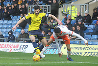 Blackpool's Kelvin Mellor battles with Oxford United's John Mousinho<br /> <br /> Photographer Mick Walker/CameraSport<br /> <br /> The EFL Sky Bet League One - Oxford United v Blackpool - Saturday 6th January 2018 - Kassam Stadium - Oxford<br /> <br /> World Copyright &copy; 2018 CameraSport. All rights reserved. 43 Linden Ave. Countesthorpe. Leicester. England. LE8 5PG - Tel: +44 (0) 116 277 4147 - admin@camerasport.com - www.camerasport.com