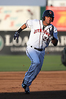 Yulieski Gurriel (24) of the Lancaster JetHawks runs the bases during a game against the Lake Elsinore Storm at The Hanger on August 2, 2016 in Lancaster, California. Lake Elsinore defeated Lancaster, 10-9. (Larry Goren/Four Seam Images)