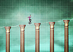 Illustrative image of businessman cycling on rope and bar graph representing growth