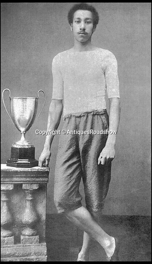 BNPS.co.uk (01202 558833)<br /> Pic: AntiquesRoadshow/BNPS<br /> <br /> Arthur Wharton. <br /> <br /> The little-known story of the first professional black footballer to play in England over 100 years ago only to become a poor minner has emerged.<br /> <br /> Arthur Wharton was a teenage immigrant from the Gold Coast - Ghana - who came from a wealthy family and was sent to the UK for a Christian education.<br /> <br /> While here he developed into an incredibly talented athlete and excelled at running, football and cricket.<br /> <br /> After winning the AAA national championships for the 100 yard sprint, Arthur went on to become an accomplished goalkeeper.<br /> <br /> In 1888 he signed professional terms with Preston North End who played in the old Division One, what is now the Premier League.
