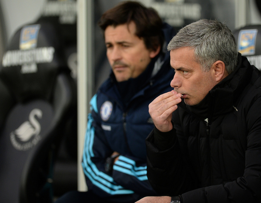 Chelsea manager Jos&eacute; Mourinho <br /> <br /> Photographer /Ashley CrowdenCameraSport<br /> <br /> Football - Barclays Premiership - Swansea City v Chelsea - Saturday 17th January 2015 - Liberty Stadium - Swansea<br /> <br /> &copy; CameraSport - 43 Linden Ave. Countesthorpe. Leicester. England. LE8 5PG - Tel: +44 (0) 116 277 4147 - admin@camerasport.com - www.camerasport.com