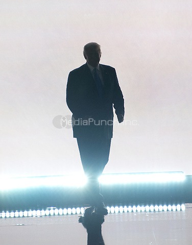 Donald Trump arrives to introduce his wife Melania, who will make remarks at the 2016 Republican National Convention held at the Quicken Loans Arena in Cleveland, Ohio on Monday, July 18, 2016.<br /> Credit: Ron Sachs / CNP/MediaPunch<br /> (RESTRICTION: NO New York or New Jersey Newspapers or newspapers within a 75 mile radius of New York City)