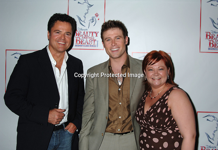 "Donny Osmond, Kathy Brier and Jacob Young..at The 5000th performance of ""Beauty and The Beast"" party on June 20, 2006 at Planet Hollywood...Jacob Young of All My Children is starring as Lumiere. ..Robin Platzer, Twin Images"