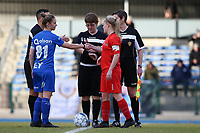20191221 - WOLUWE: Gent's captain Sofie Vanhooren (81) and Woluwe's captain Jana Simons shake hand after the coin toss, before the Belgian Women's National Division 1 match between FC Femina WS Woluwe A and KAA Gent B on 21st December 2019 at State Fallon, Woluwe, Belgium. PHOTO: SPORTPIX.BE | SEVIL OKTEM