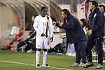 20 March 2008: Freddy Adu (USA) (11) listens to United States U-23 Head Coach Peter Nowak (POL) (pointing). The United States U-23 Men's National Team defeated the Canada U-23 Men's National Team 3-0 at LP Field in Nashville,TN in a semifinal game during the 2008 CONCACAF Men's Olympic Qualifying Tournament. With the victory, the United States qualified for the 2008 Beijing Olympics.