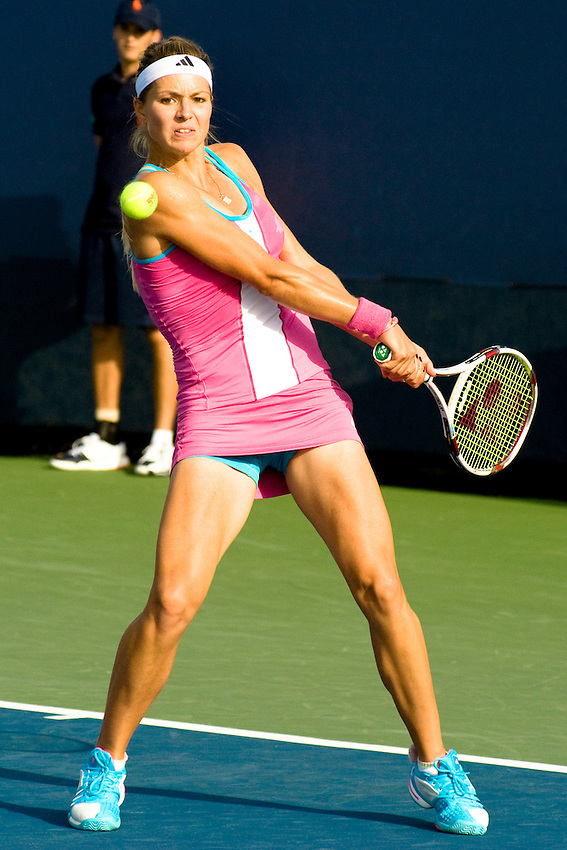 FLUSHING MEADOWS CORONA PARK, NY - AUGUST 29: Maria Kirilenko (RUS) [25] defeats Ekaterina Makarova (RUS) 4-6, 6-1, 7-6 (7-3) in the first round of the US Open on Monday, August 29, 2011 at the USTA Billie Jean King National Tennis Center in Flushing Meadows Corona Park, NY. The US Open is the highest-attended annual sporting event in the world.