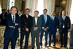 "Michel Drucker and (LtoR) François Pirette, Salvatore Adamo, Eddy Merckx, Jacky Ickx, Eric-Emmanuel Schmitt at the ceremony who Michel Drucker was awarded at  the title of Commander of the Order of the Crowne at the Palace Egmont"" at Brussels, 2014 in Brussels, Belgium."