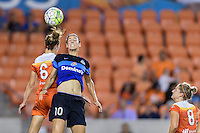 Houston, TX - Sunday June 19, 2016: Morgan Brian, Yael Averbuch during a regular season National Women's Soccer League (NWSL) match between the Houston Dash and FC Kansas City at BBVA Compass Stadium.