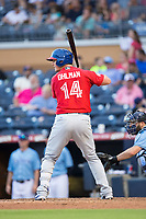 Mike Ohlman (14) of the Buffalo Bisons at bat against the Durham Bulls at Durham Bulls Athletic Park on April 30, 2017 in Durham, North Carolina.  The Bisons defeated the Bulls 6-1.  (Brian Westerholt/Four Seam Images)