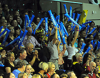 Fans in the stands during the ANZ Netball Championship match between the Central Pulse and Waikato Bay Of Plenty Magic at TSB Bank Arena, Wellington, New Zealand on Monday, 30 March 2015. Photo: Dave Lintott / lintottphoto.co.nz