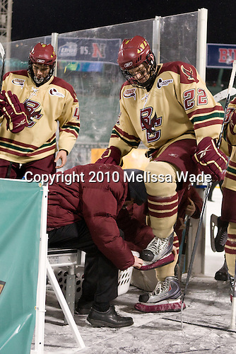 Tommy Cross (BC - 4), Paul Carey (BC - 22) - The Boston University Terriers defeated the Boston College Eagles 3-2 on Friday, January 8, 2010, at Fenway Park in Boston, Massachusetts, as part of the Sun Life Frozen Fenway doubleheader.