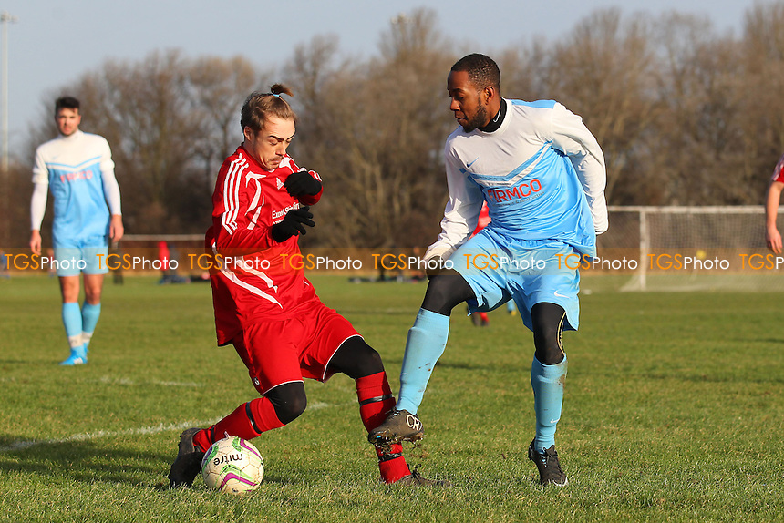 Clapton Rangers (blue/white) vs Angel & Crown - Hackney & Leyton Sunday League Jack Walpole Cup Football at South Marsh, Hackney Marshes, London - 11/01/15 - MANDATORY CREDIT: Gavin Ellis/TGSPHOTO - Self billing applies where appropriate - 0845 094 6026 - contact@tgsphoto.co.uk - NO UNPAID USE