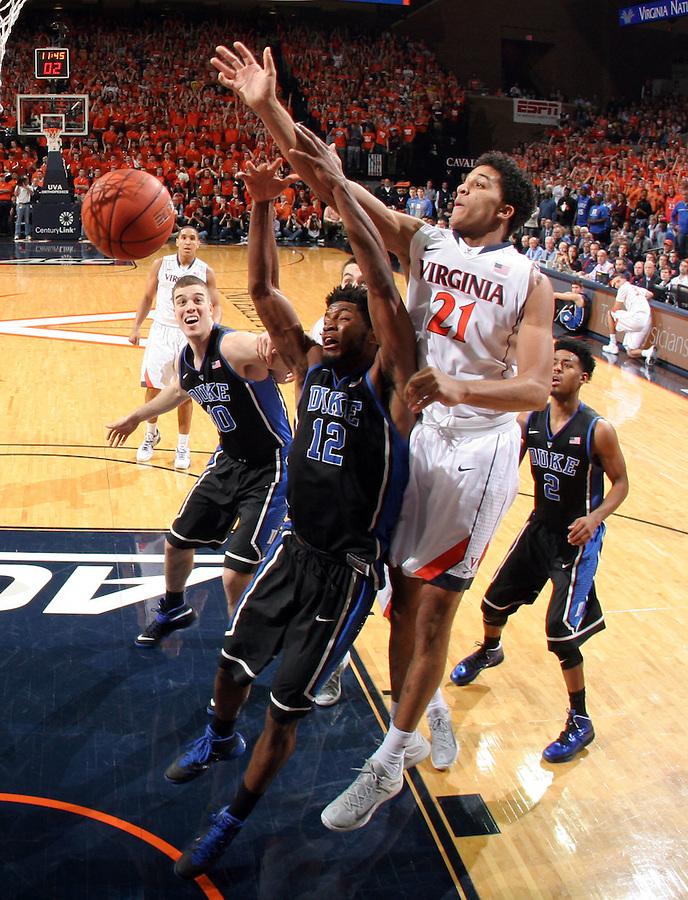 Virginia forward Isaiah Wilkins (21) during an ACC basketball game Jan. 31, 2015 in Charlottesville, VA. Duke won 69-63.
