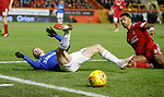 06.02.2019:Aberdeen v Rangers: Ryan Kent fouled by Shay Logan on the edge of the box