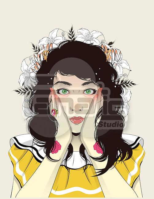 Illustrative image of surprised teenage girl against colored background
